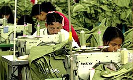 Workers sewing in a Central American sweatshop